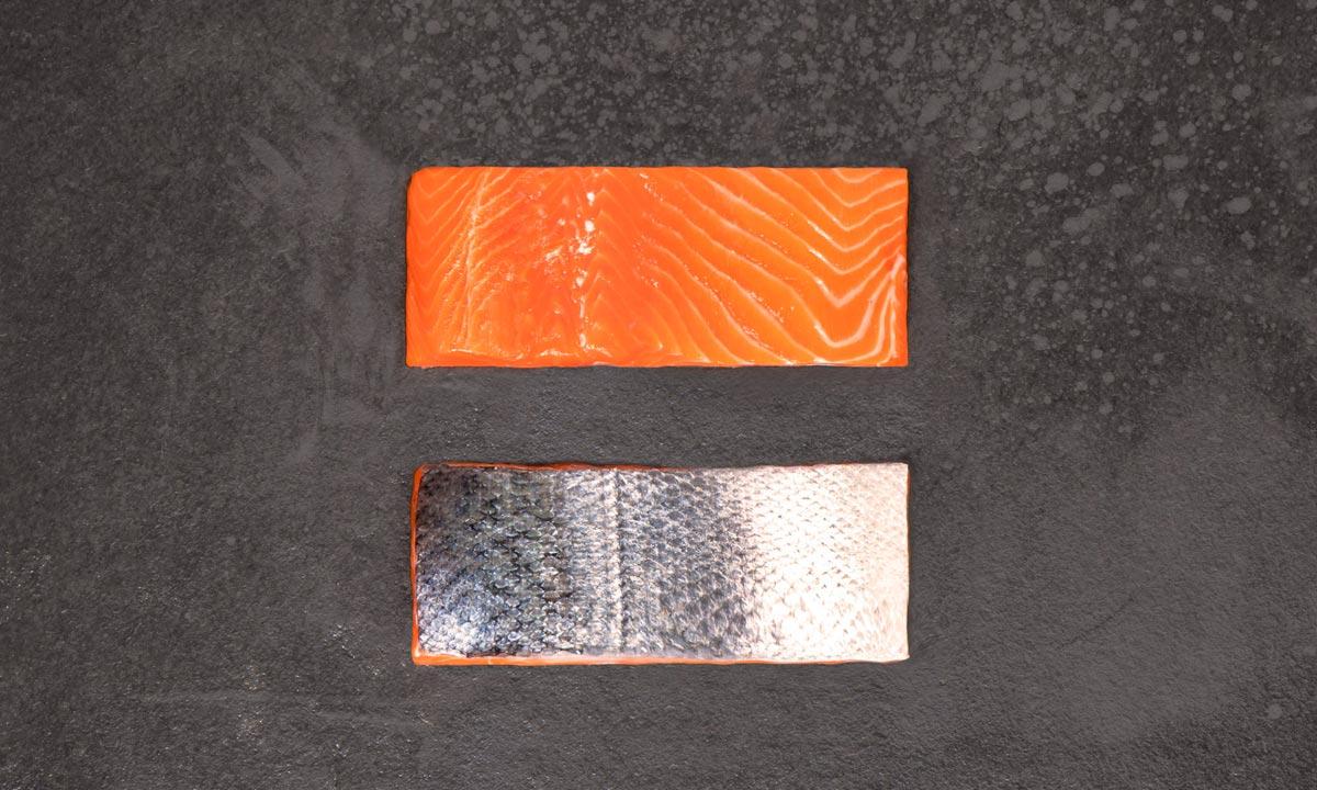 COHO PORCIÓN CON PIEL - Formato: Congelado - Tamaño: 4 oz (110 g); 6 oz(170 g); 8 oz (220 g)